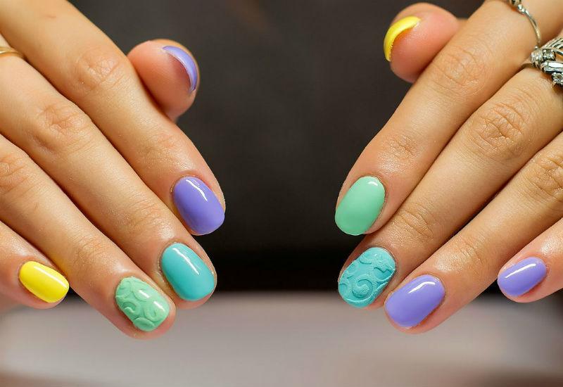 Летний маникюр на короткие ногти дизайн 2017