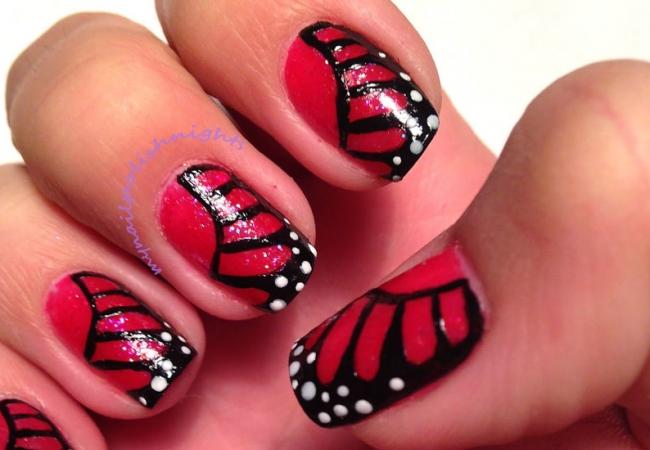 Рисунки на ногтях с бабочками фото