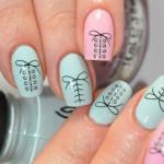 Необычный дизайн ногтей миндалевидной формы со шнурками