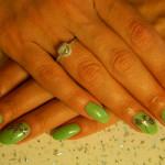 Дизайн ногтей стрекоза в зеленых тонах
