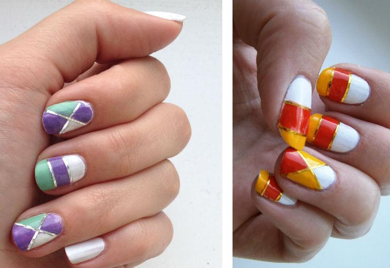 Дизайн ногтей дома с помощью скотча