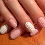 Бело-розовый Маникюр с акриловой пудрой