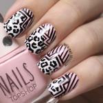 Леопардовый маникюр с геометрией