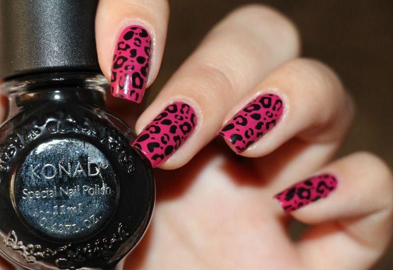 Леопардовый маникюр черным лаком