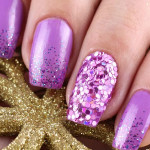 Маникюр с блестками в фиолетовых тонах