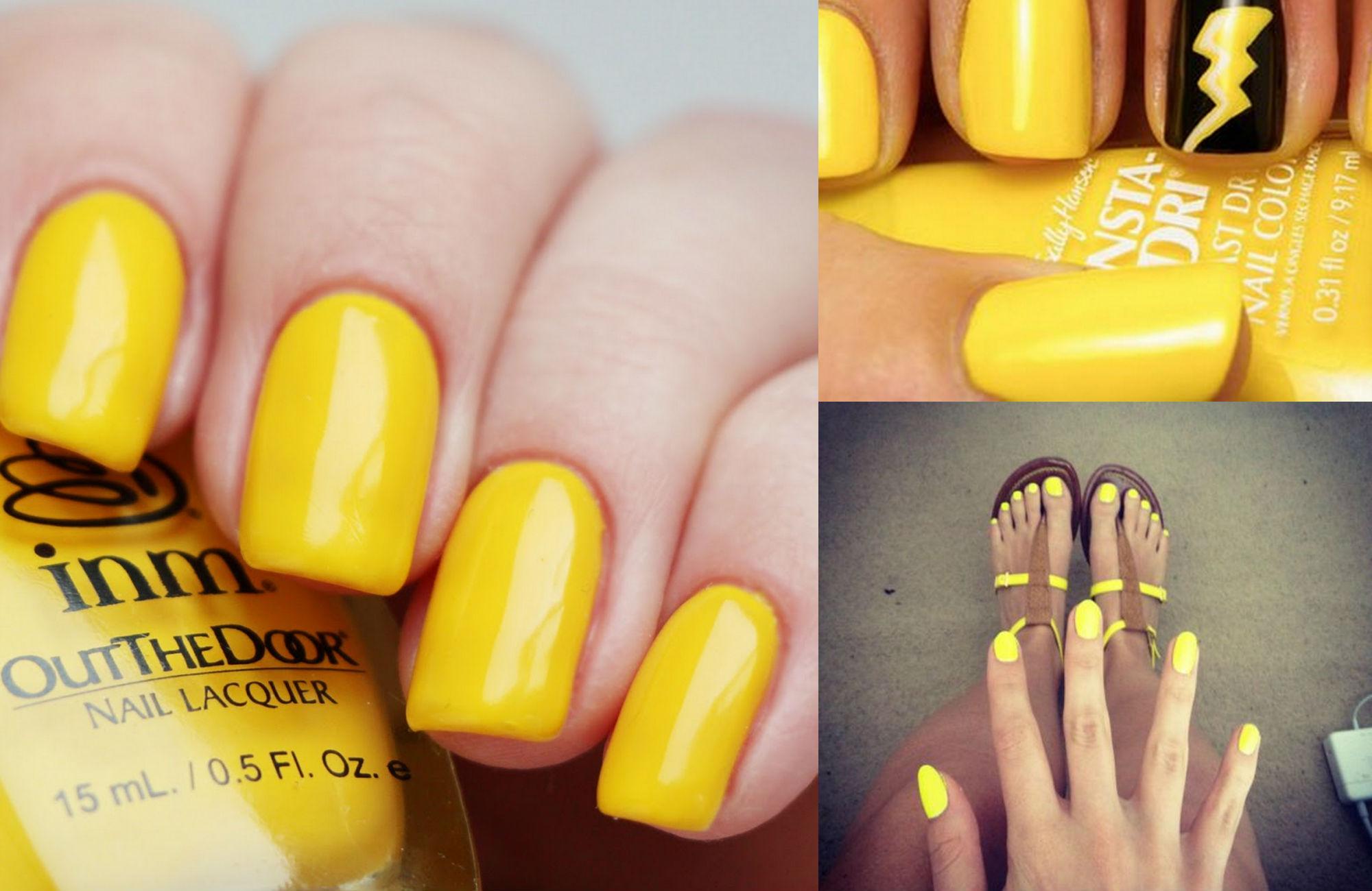 Желтый маникюр сочетание цветов