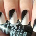 Черно-белый маникюр с серебряными блестками