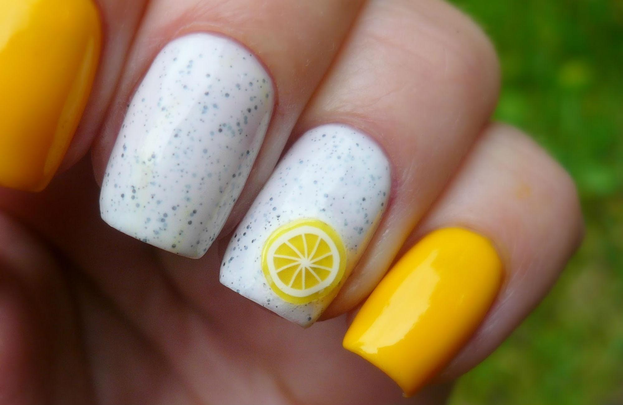 Идеи маникюра в лимонном цвете