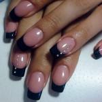 Черный французский маникюр на квадратных ногтях