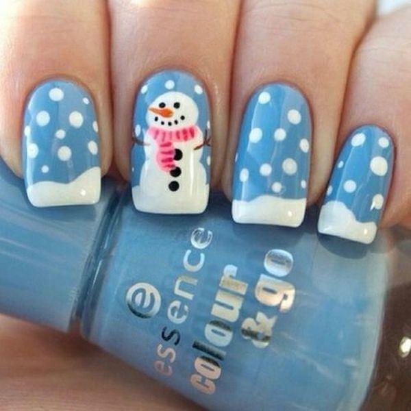 Снеговик и снежинки на ногтях