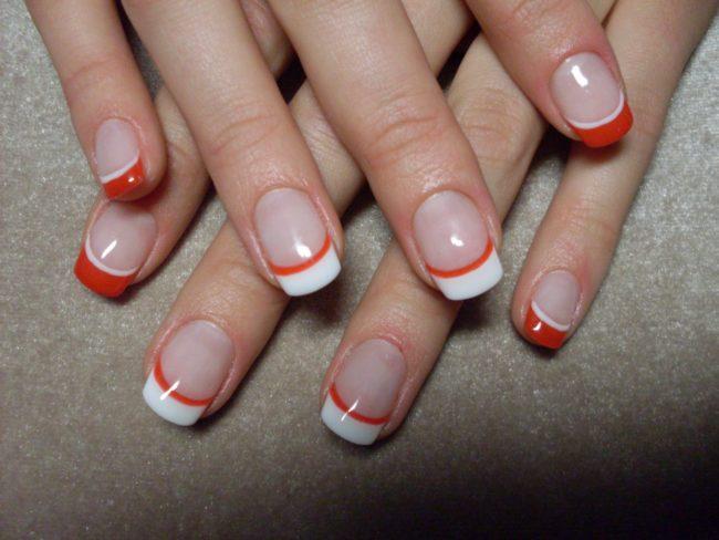 Дизайн ногтей двойной френч