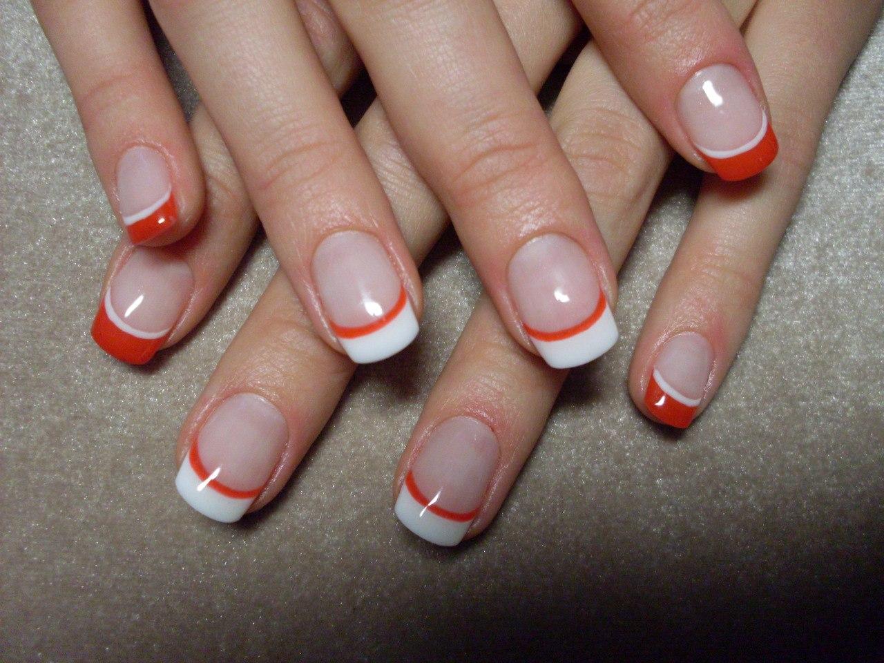 Ногти дизайн белый френч с красным фото