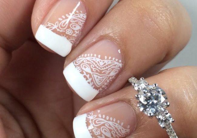 Дизайн ногтей ажурный свадебный френч.
