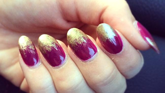 Дизайн ногтей с золотыми концами в домашних условиях.