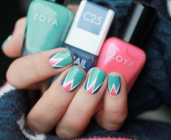Геометрический дизайн ногтей в домашних условиях.