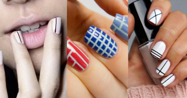 Полоски и квадратики на ногтях.