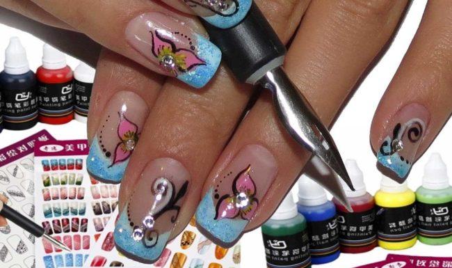 Дизайн ногтей с акриловыми красками.