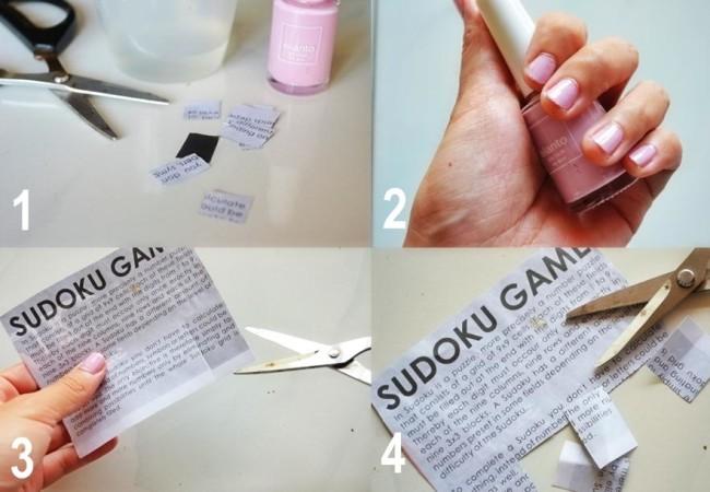 Газетный маникюр с обильным покрытием лака первые четыре этапа.