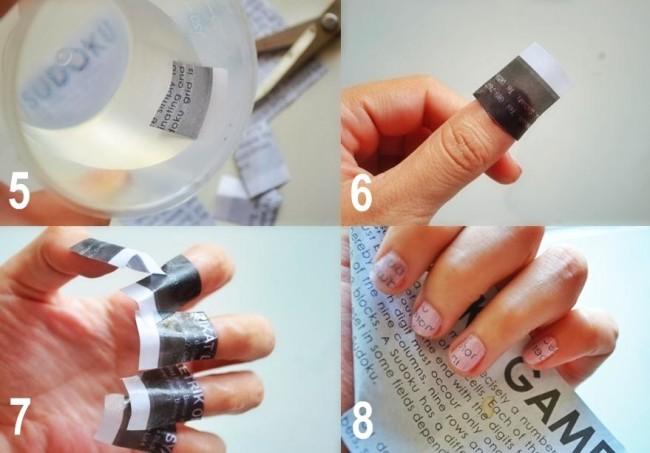 Газетный маникюр с обильным покрытием лака последние четыре этапа.