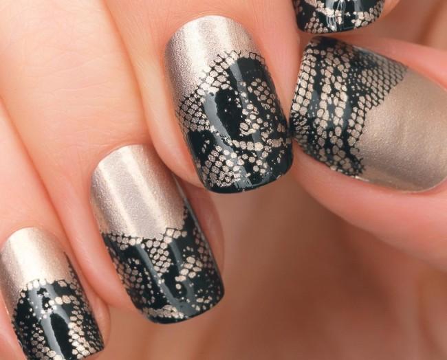 Идея кружевного дизайна ногтей.