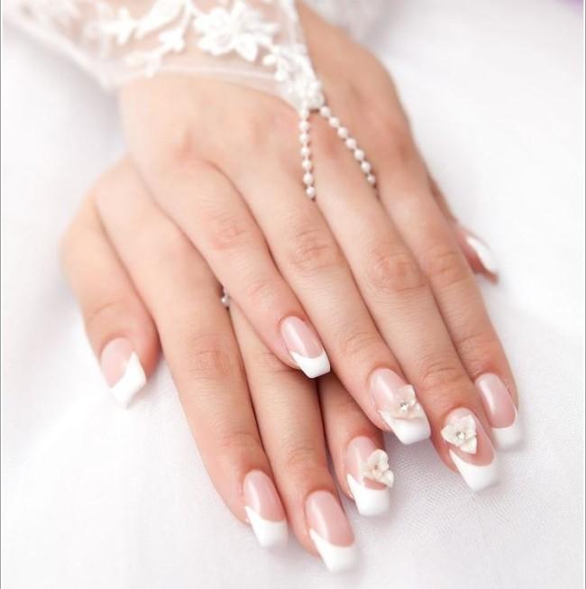 Свадебный дизайн ногтей для невесты на длинные ногти.