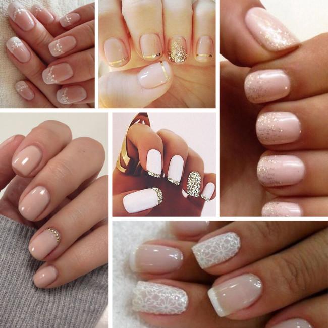 Варианты свадебного маникюра на короткие ногти.