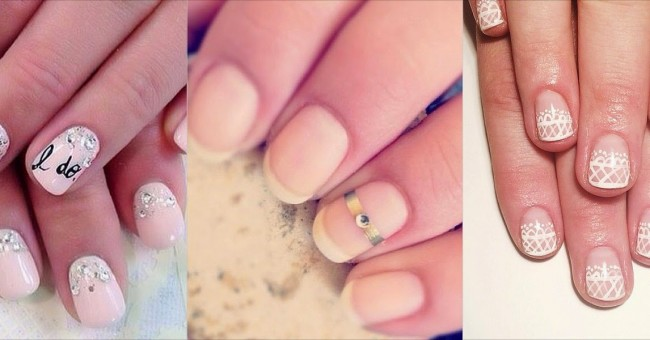 Идеи свадебного маникюра на короткие ногти.