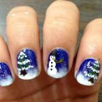Новогодний маникюр со снеговиком