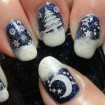 Новогодний маникюр Снежная ночь