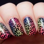 Леопардовый маникюр на градиентном фоне