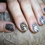 Леопардовый маникюр с принтом зебры